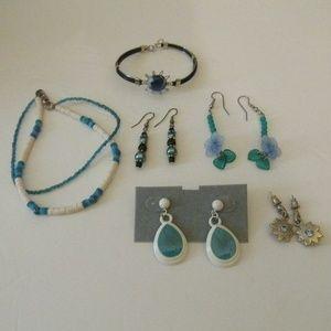 Blue  Jewelry  Earrings, Bracelet, & Ankle Item